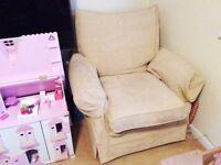 Two used Multiyork cream sofa chairs