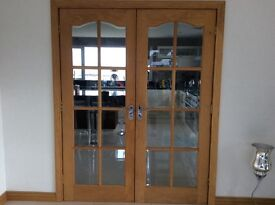 Reduced price - solid oak French double doors (4 sets available)