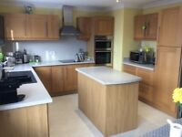 Oak Shaker Style Kitchen Units, centre island and work tops