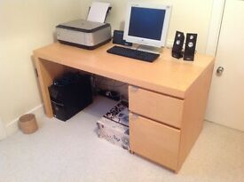 Great IKEA beech desk with draws W 140cm D65cm H72cm