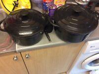 Cast iron black casserole pans