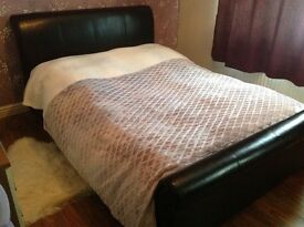 Real leather double bed