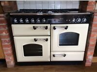1100mm Duel Fuel Rangemaster cream and black Cooker.