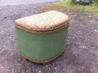 Vintage loom mini ottoman in solid and sturdy condition