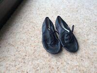 Kids black leather jazz shoes