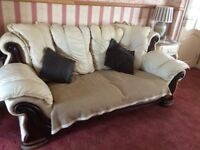 Leather Pendragon suite cost 5000 when new includes all throws & cushions 3 seater sofa & 2 chairs