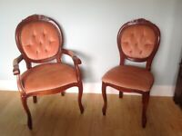 Antique Louis XV Style chairs x2. Shabby Chic. Vintage furniture.