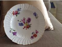 Old ,30 years plus, decorative flower patterned plate. Unknown make