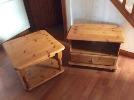 Pine coffee table and TV unit