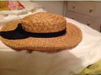 TRADITIONAL Straw Boater with Black ribbon detail