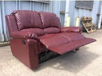 Red Maroon Leather 2 Seat Recliner Sofa - Ex Display - £199 Including Free Local Delivery