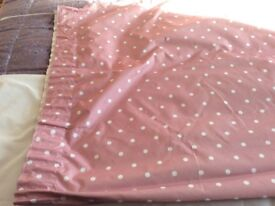 DUSKY PINK & WHITE POLKA DOT CURTAINS, BLACKOUT LINING, PENCIL PLEAT INCLUDES PLASTIC HOOKS