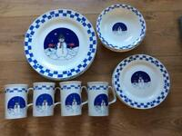 20 Piece Snowman Dinner Set - mugs,plates and dishes
