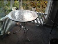 White wrought iron table, garden/house