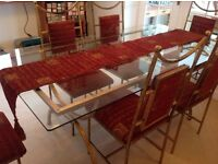 Glass large dining table and 6 chairs