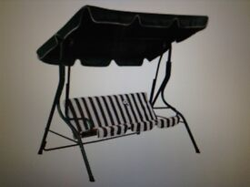 Garden swing seat with cushion and cover