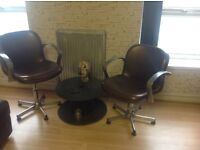 Industrial edge to these barber chairs/vintage/retro,leather seats chrome finish,highly reccomended
