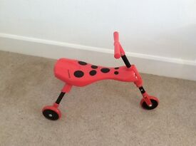 Ladybird Scuttlebug Beetle, red and black, good condition