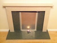 For sale. Bespoke hearth & fire surround of dark green & pale beige marble.