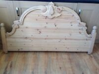 Vintage Style Carved Wooden Bed Board /Headboard - great for project - perhaps bench?
