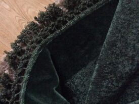 Large dark green Victorian chenille table cover