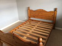 Double bed frame in pine.