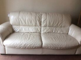 Arthur Llewelyn Jenkins cream leather 2 & 3 seater sofas