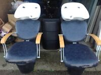 2x Used Salon Backwash Basins With Chairs