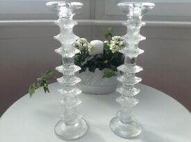 Pair of Glass Candlesticks- £8