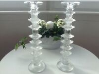 Pair of Glass Candlesticks- £8