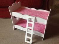 Dolls wooden bunk bed with ladder and blankets - fits our generation dolls and all 18 inch dolls