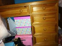 Pine Desk 5 drawers