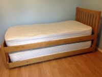 John Lewis Single Trundle Bed *Pine *2 Mattresses *Good Condition