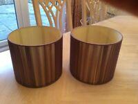 Pair of plum coloured lampshades