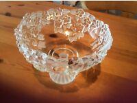 Embossed glass stemmed bowl