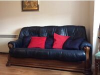 Leather suite for sale, navy, three seater settee and two seater settee