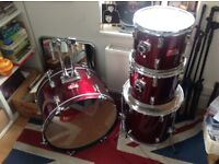 CB DRUMS BASS KICK DRUM AND TOM SET KIT WINE RED GREAT SOUND