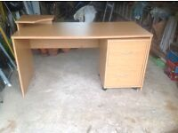 Beech veneer desk for home or office with three drawer cabinet excellent condition