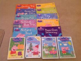Peppa pig books x 10 and DVDs x 4, lovely bundle