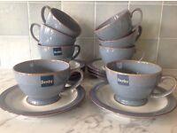 Denby Storm grey teacups and saucers - set of 8