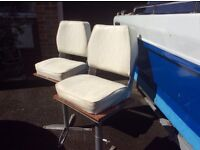Pair of leather seats for fishing boat. Stands attached. Excellent condition. £50
