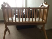 Mamas and Papas wooden swinging crib baby bed