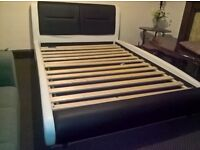 Superior quality black and white leather double bed very stylish (Free delivery see description)