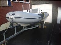 Rigid Inflatable Boat 3.5 metres with Centre Consul and Roller Trailer