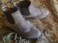 Beige faux suede boots 4 worn once pull on