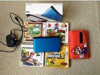 Nintendo 3DS XL (Blue), 4 Games, Charger, Case Bundle