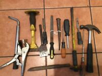 LOT OF HAND TOOLS HAMMER BOLSTER SCREWDRIVER CHISEL STANLEY