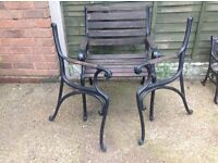 Garden chair and set of legs for another chair cast iron