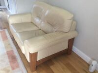 Two Seat Sofa Cream Leather DFS
