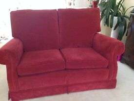 2 seater sofa in red dralon. Monkwell fabric.